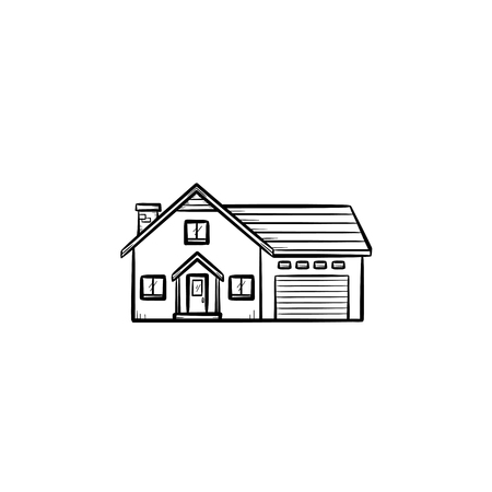 Suburban house hand drawn outline doodle icon. Private property, real estate search, mortgage loan, bond, debt vector sketch illustration for print, web, mobile and infographics on white background.