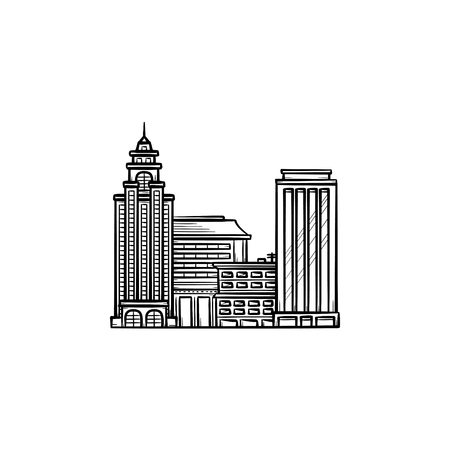 Cityscape hand drawn outline doodle icon. Downtown skyscrapers as urban landscape and skyline concept vector sketch illustration for print, web, mobile and infographics on white background. Illusztráció