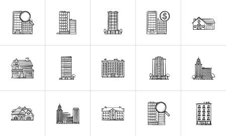 Zestaw ikon doodle wyciągnąć rękę wyciągnąć rękę nieruchomości. Zestaw ikon doodle konspektu do druku, internetu, telefonu komórkowego i infografiki. Nieruchomość, kredyt hipoteczny, zestaw ilustracji szkic wektor nieruchomości na białym tle. Ilustracje wektorowe