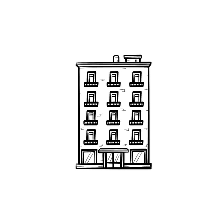 Apartment building hand drawn outline doodle icon. Real estate down payment, finance and investment concept vector sketch illustration for print, web, mobile and infographics on white background.
