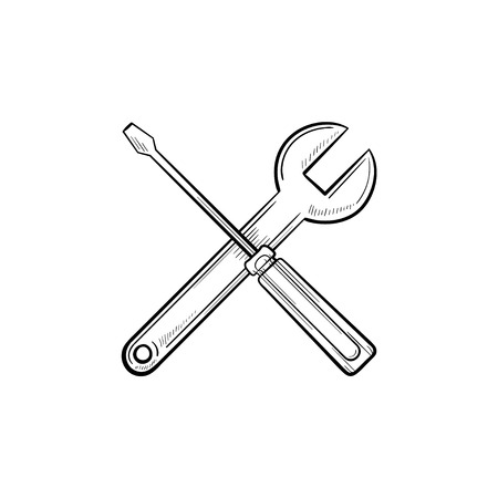 Repair tools hand drawn outline doodle icon. Crossed screwdriver and wrench as real estate and housing repair and maintenance service concept. Vector sketch illustration on white background.