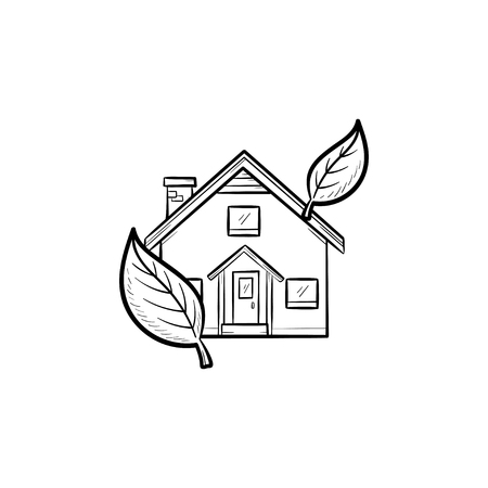 Ecological house hand drawn outline doodle icon. Country house with leaves around as green housing technology and ecologically clean area concept. Vector sketch illustration for print, web, mobile