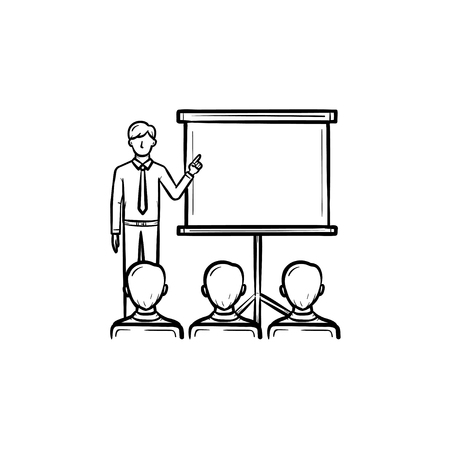 Real estate education hand drawn outline doodle icon. Real estate coach shows on projection screen as realty conference concept. Vector sketch illustration on white background. Иллюстрация