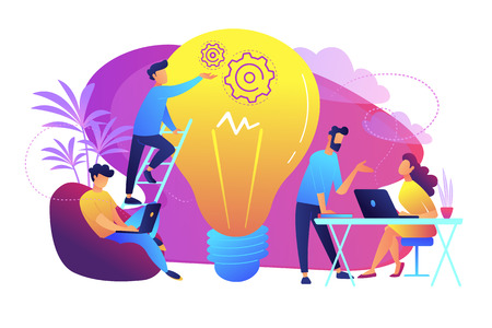 People working in friendly open space workplace. Coworking, freelance, teamwork, communication, interaction, idea, independent activity concept, violet palette. Vector illustration on white background Ilustrace