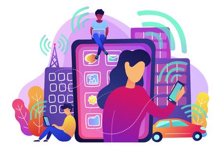 Mensen die verschillende elektronische apparaten gebruiken, zoals smartphone, laptop, tablet. Radiovelden, elektromagnetische vervuiling, stralingsconcept, violet palet. Vectorillustratie op witte achtergrond. Vector Illustratie