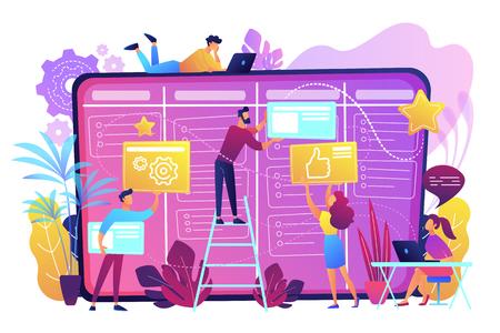 Teamleden verplaatsen kaarten op groot kanbanbord. Teamwork, communicatie, interactie, bedrijfsproces, agile projectmanagementconcept, violet palet. Vectorillustratie op witte achtergrond.