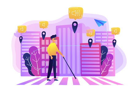 A blind man crossing the street with smart tags and voice notifications around. Barrier-free convenient environment as IoT and smart city concept, violet palette. Vector illustration on background. Banco de Imagens - 103630666
