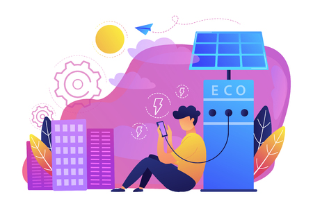Man charges smartphone from solar recharge station. Ecological renewable charging systems, smart bus stops, IoT and smart city concept, violet palette. Vector illustration on white background.
