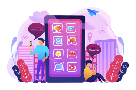 A mens near huge smartphone with application icons on the screen checking social media and news feeds. Social media, news tips, IoT and smart city concept, violet palette. Vector illustration.