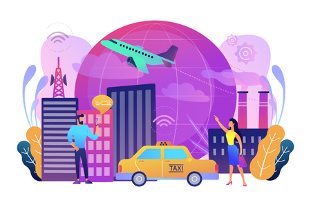 People with smartphones around modern facilities connected to global web network with wi-fi signs. Internet of things, IoT infrastructure and smart city concept. Vector illustration on background. Illustration