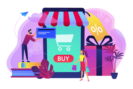 A couple near huge smartphone with buy icon on the screen make online purchases. Smart retail, retail mobility solutions, IoT and smart city concept, violet palette. Vector illustration on background.