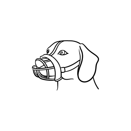 Muzzled dog hand drawn outline doodle icon. Pets in city life, safe dog walking and training concept. Vector sketch illustration for print, web, mobile and infographics on white background.
