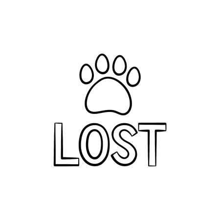 Lost dog hand drawn outline doodle icon. Lost sign with dog footprint as rescue, search for missing pets concept. Vector sketch illustration for print, web, mobile and infographics on white background