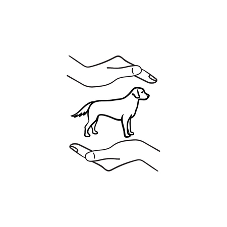 Pet hand drawn outline doodle icon. Dog with human arms around as pets care and protection concept. Vector sketch illustration for print, web, mobile and infographics on white background.