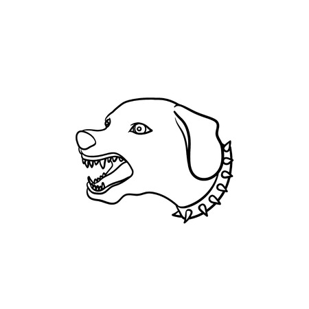 Barking dog with open jaws hand drawn outline doodle icon. Vicious dog as security animal and aggression concept. Vector sketch illustration for print, mobile and infographics on white background.
