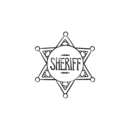 Sheriff star hand drawn outline doodle icon. Police authority, county sheriff badge, law concept. Vector sketch illustration for print, web, mobile and infographics on white background Illustration