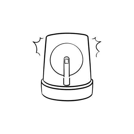 Emergency lights and siren hand drawn outline doodle icon. Flasher, alarm, alert, accident concept. Vector sketch illustration for print, web, mobile and infographics on white background Illustration