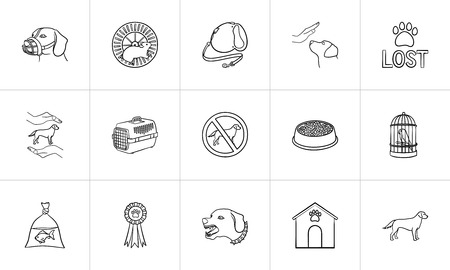 Pets hand drawn outline doodle icon set. Outline doodle icon set for print, web, mobile and infographics. dogs care, walking, training vector sketch illustration set isolated on white background. Illustration