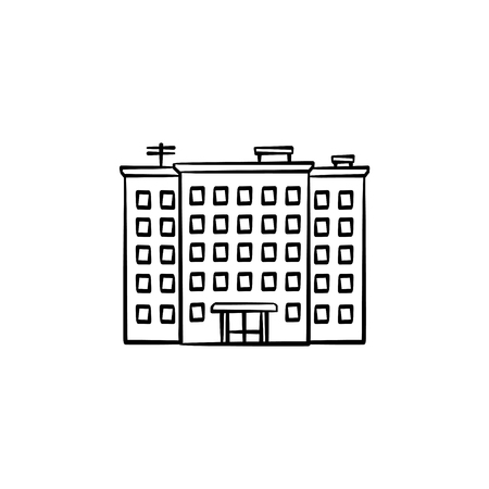 Residential building hand drawn outline doodle icon. Block of flats, ghetto, crowded apartments concept. Vector sketch illustration for print, web, mobile and infographics on white background.