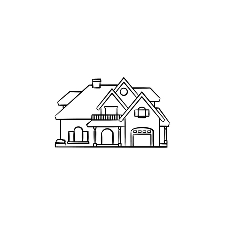 Private house hand drawn outline doodle icon. Private property, single-family home, mortgage loan concept vector sketch illustration for print, web, mobile and infographics on white background.