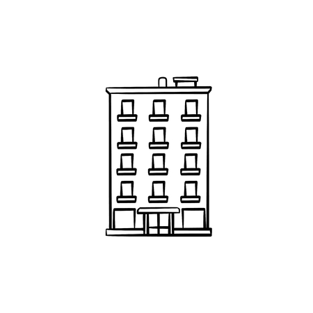 Apartment building hand drawn outline doodle icon. Real estate listing, finance and investment concept vector sketch illustration for print, web, mobile and infographics on white background. Ilustração