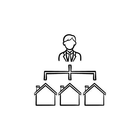 Real estate broker hand drawn outline doodle icon. Agent connected with housing web as modern realty agent network concept. Vector sketch illustration for print, web, mobile and infographics.