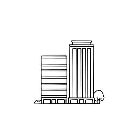 Eco friendly residential building hand drawn outline doodle icon. Modern residential condominium with trees around as green housing technology and ecologically clean area concept. Vector illustration.