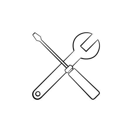 Repair tools hand drawn outline doodle icon. Crossed screwdriver and wrench as house repair, fix and maintenance service concept. Vector sketch illustration on white background. Illustration