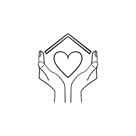 Sweet home hand drawn outline doodle icon. Hands holding heart under the house roof as home love and family care concept. Vector sketch illustration for print, web, mobile and infographics 일러스트