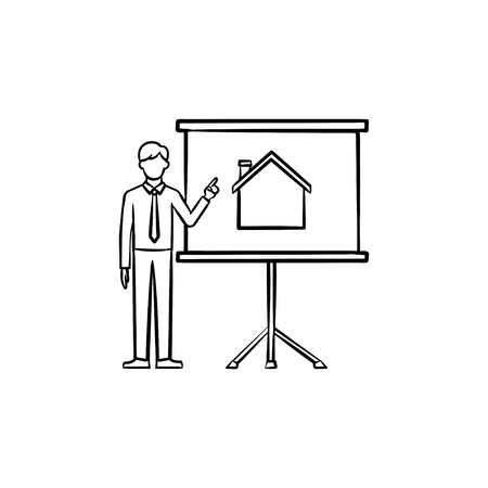Real estate listing presentation hand drawn outline doodle icon. Real estate agent shows house on the screen as realty presentation concept. Vector sketch illustration on white background.