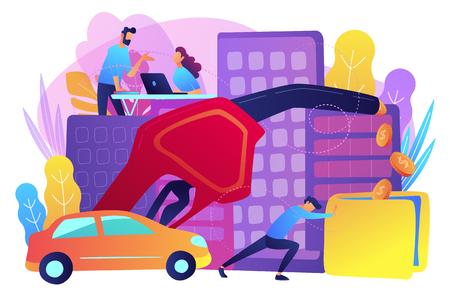 Personas que pierden dinero mediante el uso de automóviles a gas. Kilometraje de gas, ahorro de combustible y concepto eficiente de tecnología de motor ecológico. Paleta violeta. Ilustración vectorial sobre fondo blanco.