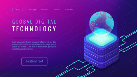 Isometric global digital technology landing page. Big data, cloud information storage, global transferring technology and remote access concept on ultraviolet background. Vector 3d illustration.