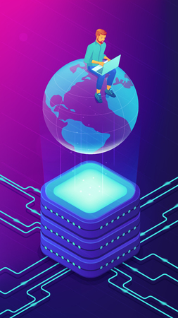 Isometric big database engineer administrator working on laptop sitting on the globe. Big data storage architecture, storage and service vector 3D isometric illustration on ultraviolet background.