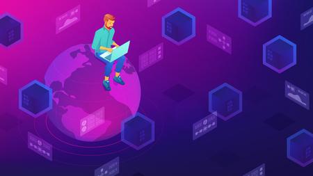Isometric big data architect designer working on laptop sitting on the globe. Big data architecture, storage, service and analysis vector 3D isometric illustration on ultraviolet background. Ilustrace