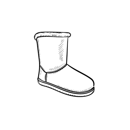 Winter soft boot hand drawn outline doodle icon. Shoe style, fashion, comfort, winter warm footwear concept. Vector sketch illustration for print, web, mobile and infographics on white background. Illusztráció
