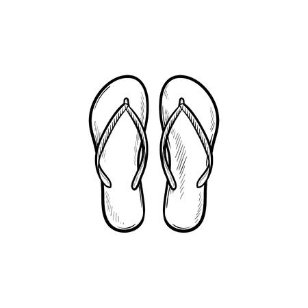 Para kapcie klapki ręcznie rysowane konspektu doodle ikona. Letnie wakacje, sandały, wakacje, koncepcja butów. Szkic ilustracji wektorowych do druku, sieci web, mobile i infografiki na białym tle.