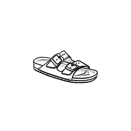 Męskie sandały ręcznie rysowane konspektu doodle ikona. Lato, wakacje, święta, moda, kapcie, koncepcja komfortu. Szkic ilustracji wektorowych do druku, sieci web, mobile i infografiki na białym tle. Ilustracje wektorowe