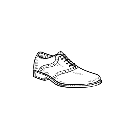 Comfortable male shoe hand drawn outline doodle icon. Men, style, fashion, footwear, shop, comfort concept. Vector sketch illustration for print, web, mobile and infographics on white background.