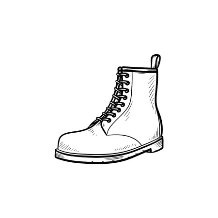 Hiking boot hand drawn outline doodle icon. Sport, style, fashion, footwear, trecking, hillwalking concept. Vector sketch illustration for print, web, mobile and infographics on white background.