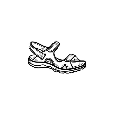Realistic child sandal drawn outline doodle icon. Footware, shoe, kids, child clothes, comfort concept. Vector sketch illustration for print, web, mobile and infographics isolated on white background. Vetores