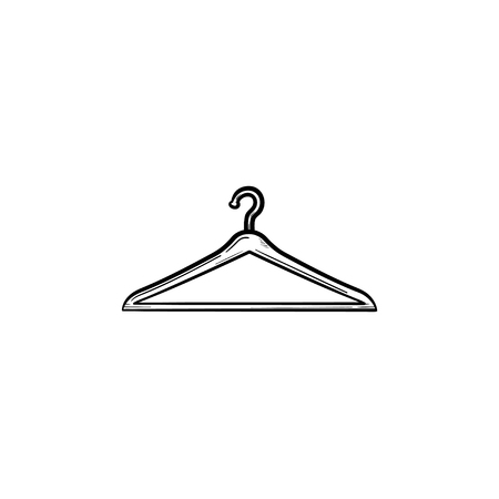 Clothes hanger hand drawn outline doodle icon. Fashion, casual, sale, store, retail, shop, wardrobe concept. Vector sketch illustration for print, web, mobile and infographics on white background. Ilustracja