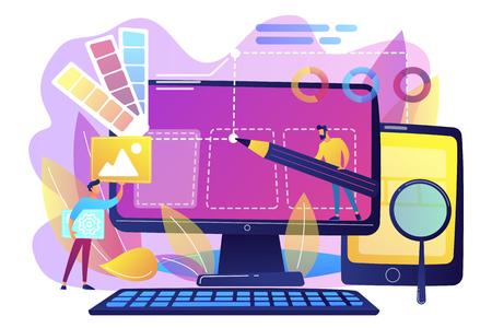 Los diseñadores están trabajando en el diseño de la página web. Diseño web, interfaz de usuario UI y organización de contenido User Experience UX. Concepto de desarrollo de diseño web. Paleta violeta. Ilustración vectorial