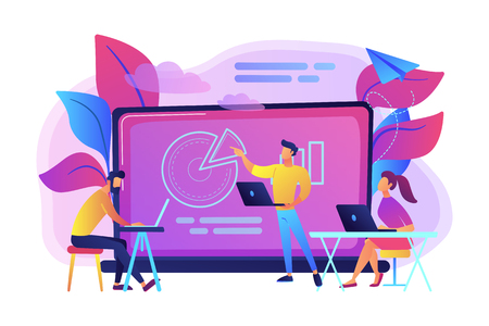 Students with laptops sitting around lector behind interactive board. Digital classroom, flipped class, blended learning and smart classroom. Modern education concept.Vector illustration on background Imagens