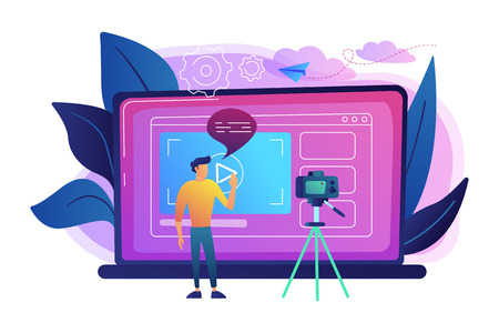 A man in front of camera recording a video to share it in internet. Vloger shares a bradcast in blog or video log. Video bloging, web television or embedded video concept. Violet palette. Vector. Imagens