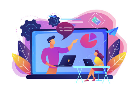 Student with laptop and lector at the LCD screen. Webinar, web seminars, webcasts, and peer-level web meetings. Modern education and collaborative sessions concept. Vector illustration on background. Stock Photo