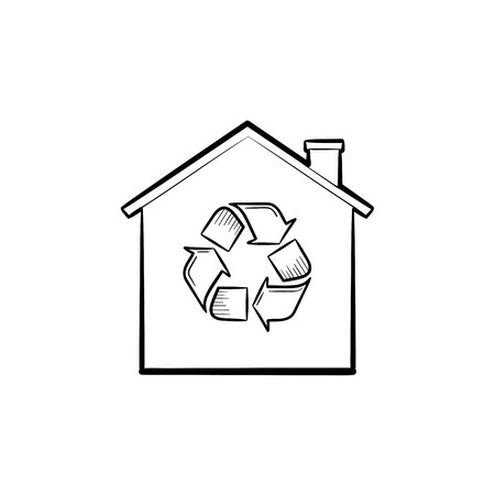 Eco house with recycling symbol hand drawn outline doodle icon. Ecology, nature protection, recycle concept. Vector sketch illustration for print, web, mobile and infographics on white background.