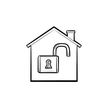 House with open padlock inside hand drawn outline doodle icon. Lock, home protection, security, estate concept. Vector sketch illustration for print, web, mobile and infographics on white background. Illustration