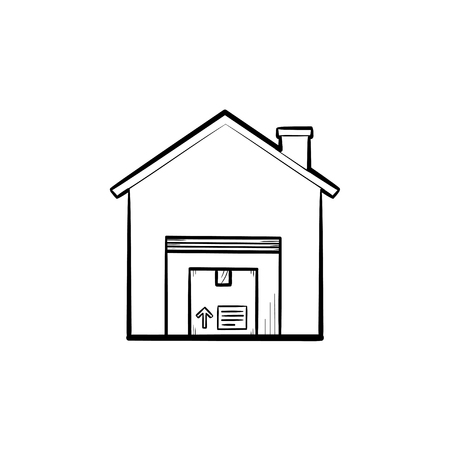 Warehouse with package hand drawn outline doodle icon. Storage, logistic, transportation, store, estate concept. Vector sketch illustration for print, web, mobile and infographics on white background.