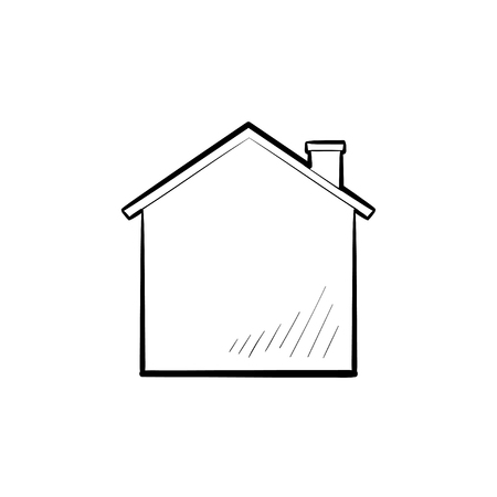 House with chimney hand drawn outline doodle icon. Home, mortgage, building concept. Vector sketch illustration for print, web, mobile and infographics on white background.