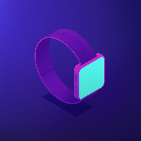 Isometric smart watch with a blue screen. Portable wearable digital device. Wearable device app development and digital technology concept . Ultraviolet background. Vector 3d illustration.